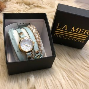 La Mer collection blue and gold wrap watch